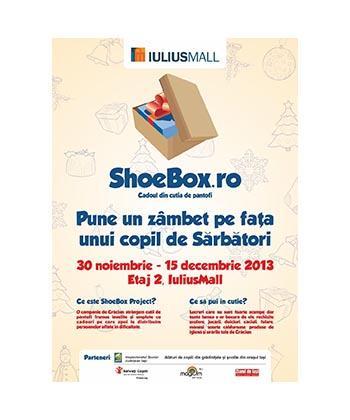 Iulius Mall susține campania națională Shoebox, prin care, de sărbători, sunt dăruite cadouri copiilor nevoiași