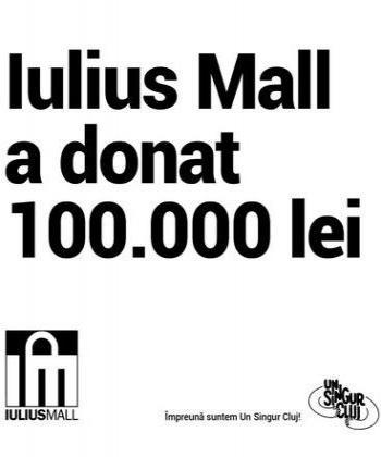 Iulius Mall este parte dintr-Un Singur Cluj! Susținem sistemul medical cu o donație de 100.000 de lei
